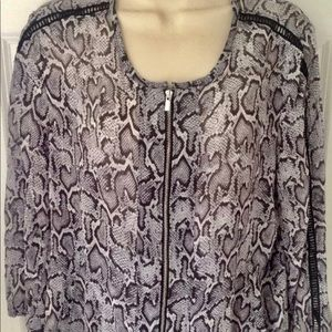 Cache Sheer Long Sleeve Snakeskin Blouse Size 8